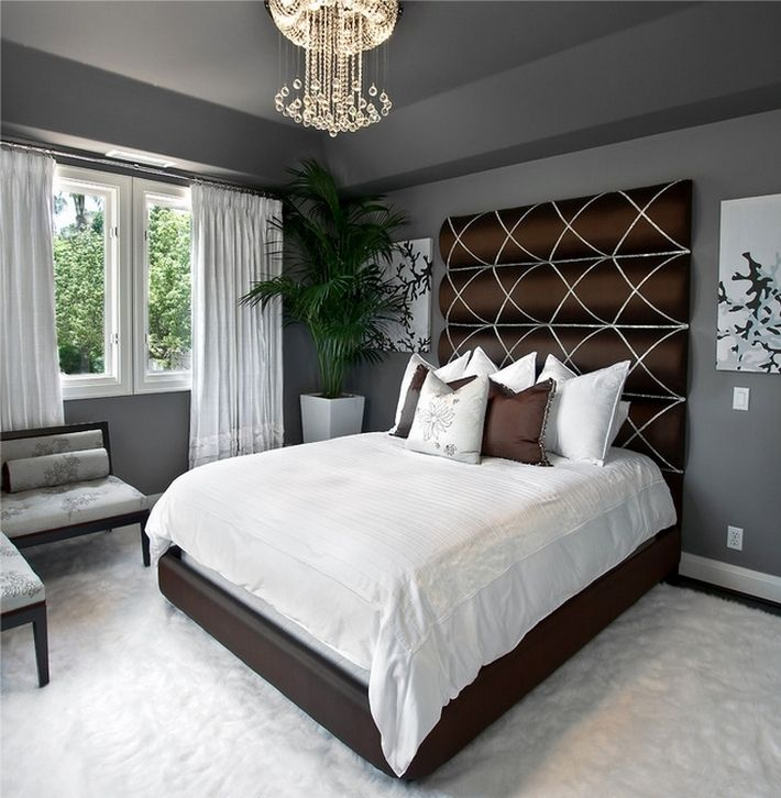 3. Черно-бело-серый цвета в спальне