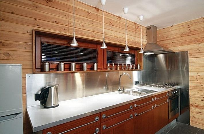 5. отделка кухни деревом