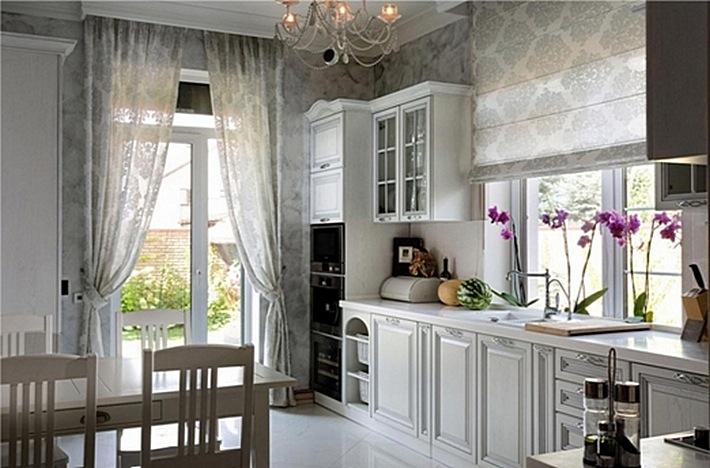 6 Ткань в классическом дизайне кухни