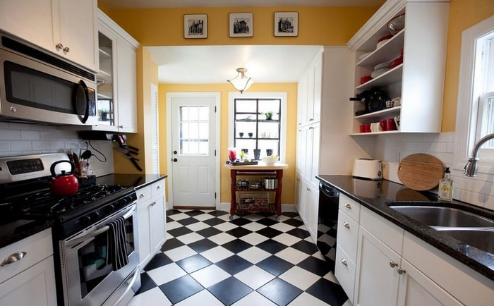 Black and white kitchen tile floor