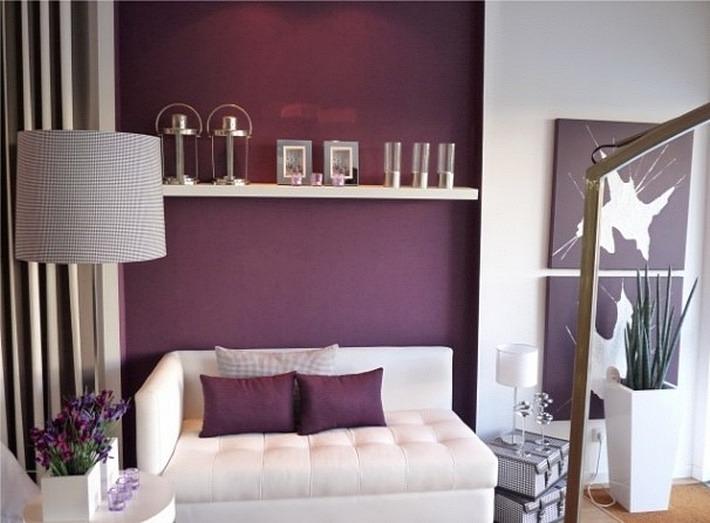 фиолетовый и белый цвета в интерьере