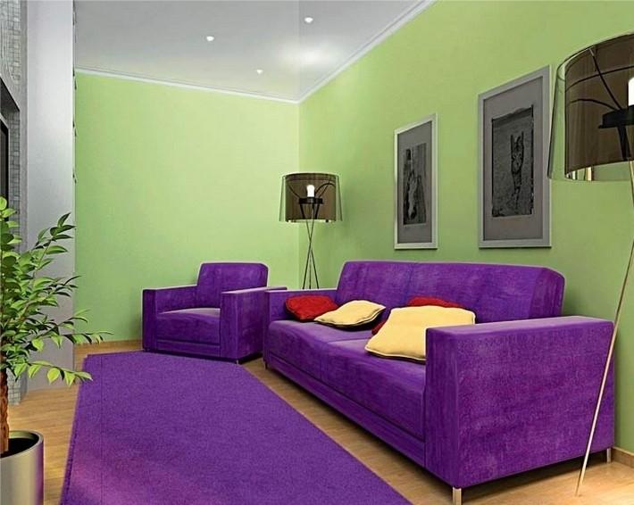 фиолетовый и красный цвета в интерьере