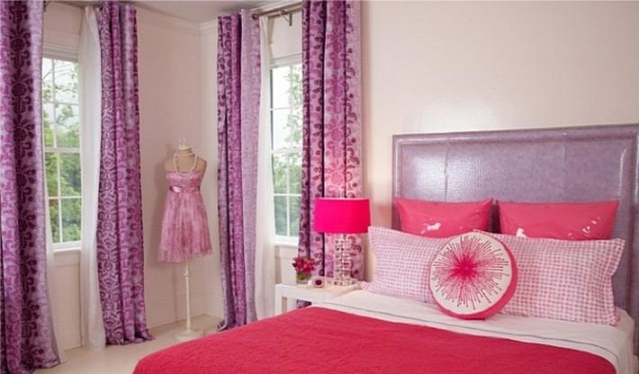 фиолетовый и розовый цвета в интерьере