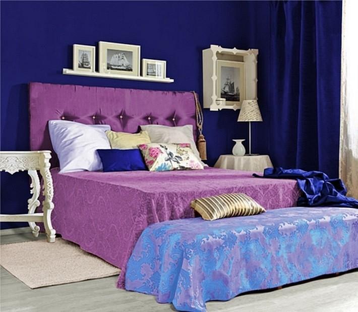фиолетовый и синий цвета в интерьере