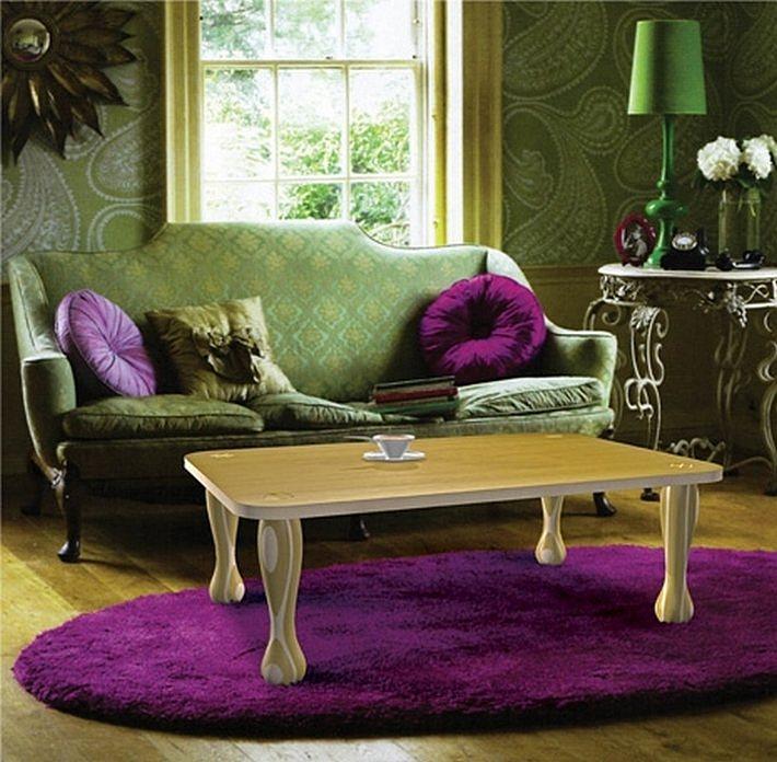 фиолетовый и зеленый цвета в интерьере