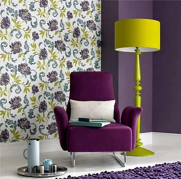 фиолетовый и желтый цвета в интерьере