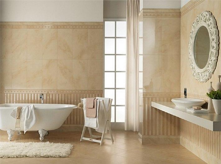 интерьер в ванной бежевого цвета