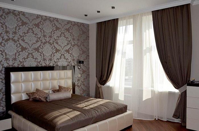 Дизайн штор для шоколадной спальни