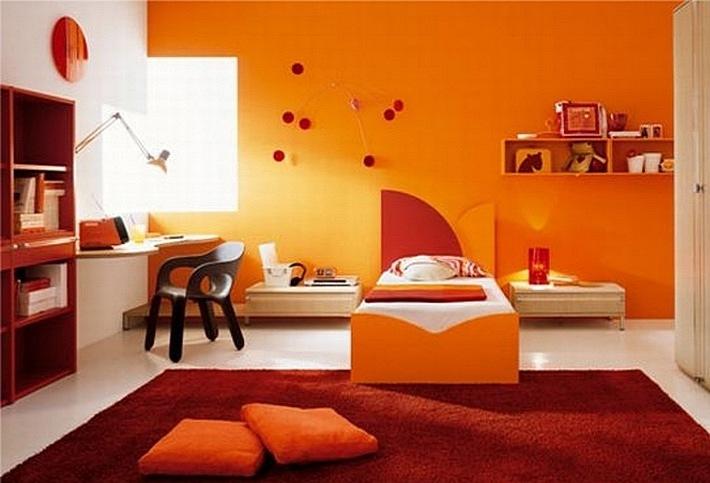 красный и оранжевый цвета в интерьере