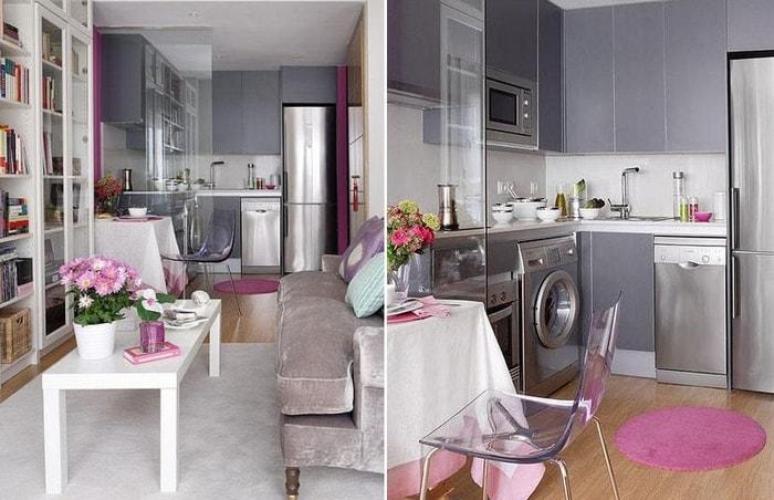 Сочетание серого в интерьере кухни фото