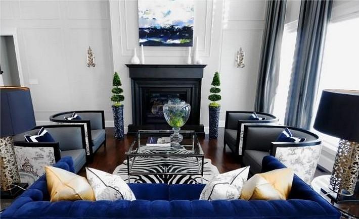 синий и черный цвета в интерьере