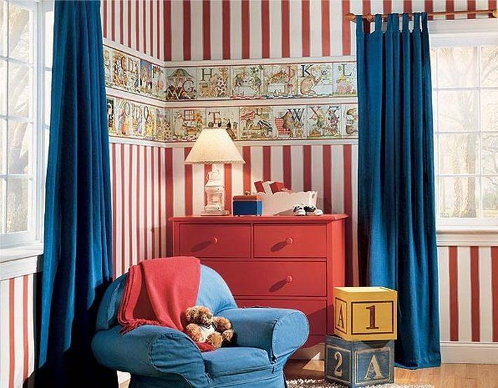 синий и красный цвета в интерьере
