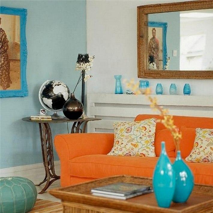 синий и оранжевый цвета в интерьере