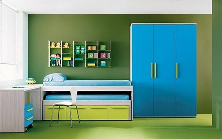 синий и зеленый цвета в интерьере