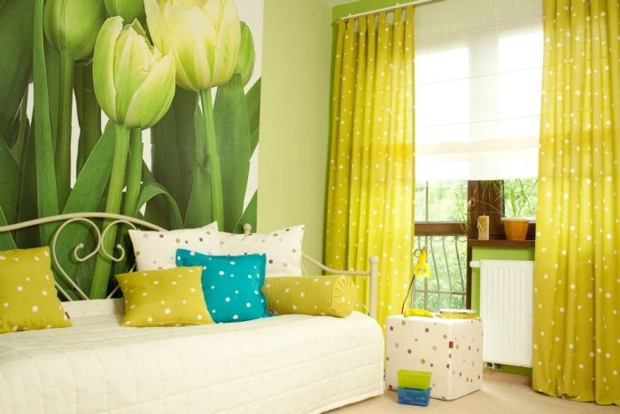 Шторы в желто зеленом цвете