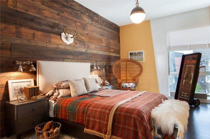 1. Шотландка в интерьере спальни
