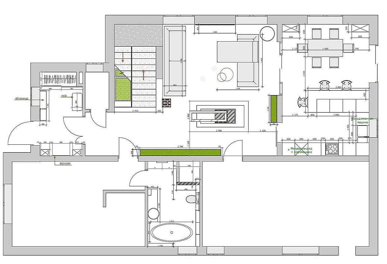 Первый этаж частного дома в современном стиле на ул. Герцена