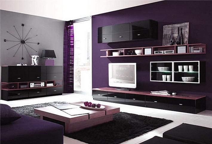 фиолетовый и черный цвета в интерьере