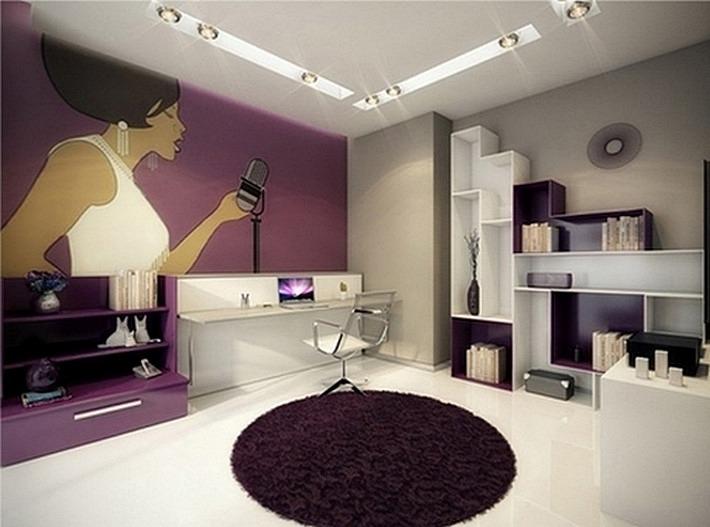 фиолетовый и серый цвета в интерьере