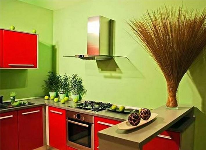 красный и зеленый цвета в интерьере