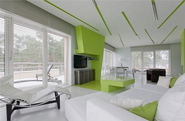 зеленый и белый цвета в интерьере