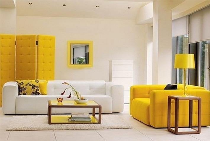 желтый и белый цвета в интерьере