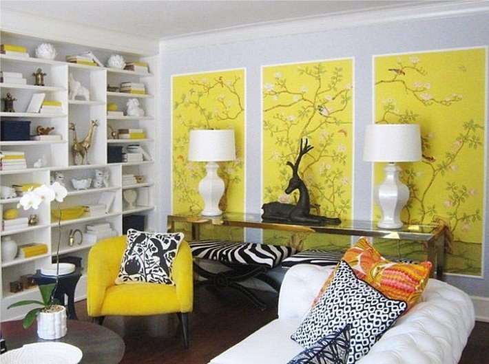 желтый и черный цвета в интерьере