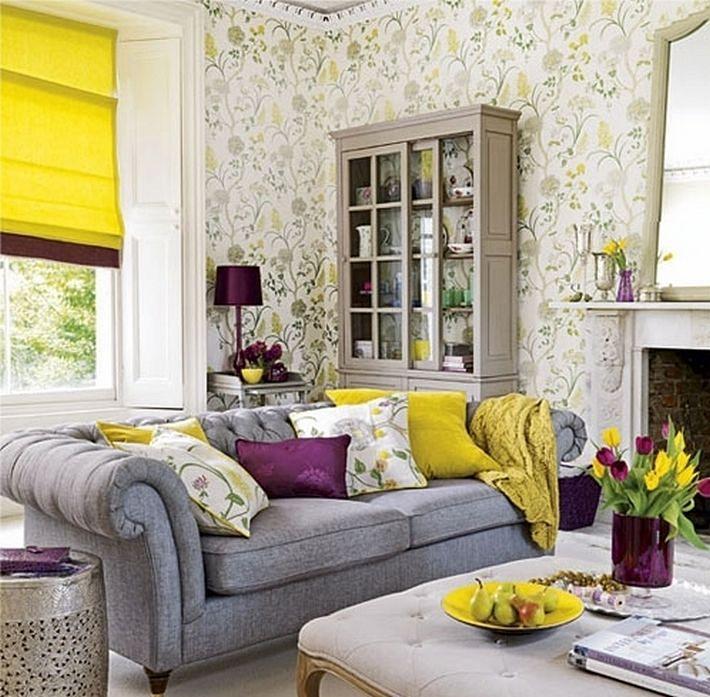 желтый и фиолетовый цвета в интерьере