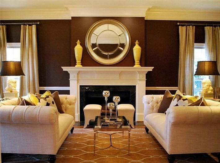 желтый и коричневый цвета в интерьере