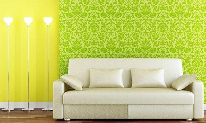 желтый и зеленый цвета в интерьере